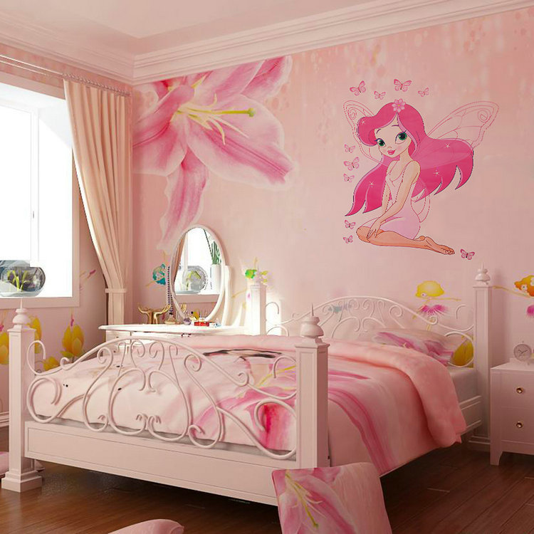 Beautiful Fairy Princess Butterly Decals Art Mural Wall Sticker Kids Girl Room Decor Pink Color(China (Mainland))