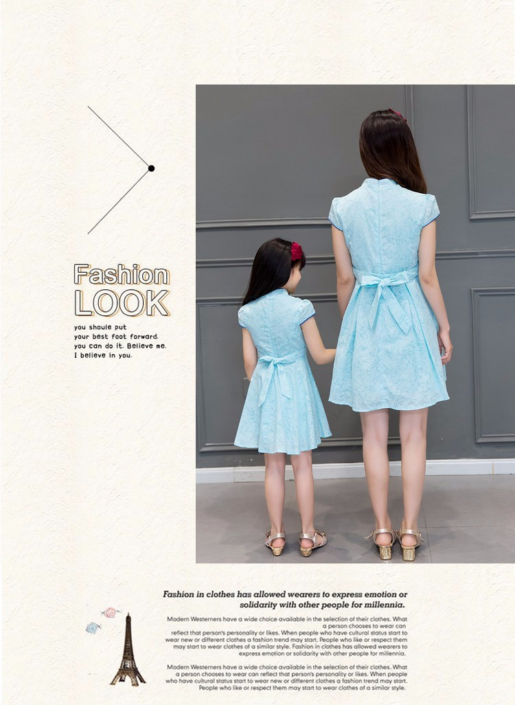 Скидки на 2016 новый голубой мать и дочь платье семья одежда долго qipao традиционный китайский одежда cheongsam платья для девочек