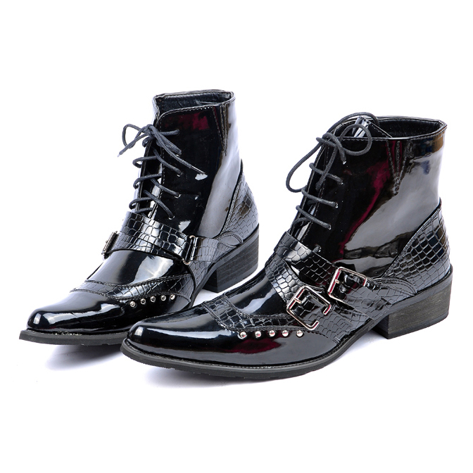 2014 Fahion Men's western denim boots male japanned leather pointed toe Man punk casual shoes Eur 38-44 - Oh Yeah' store