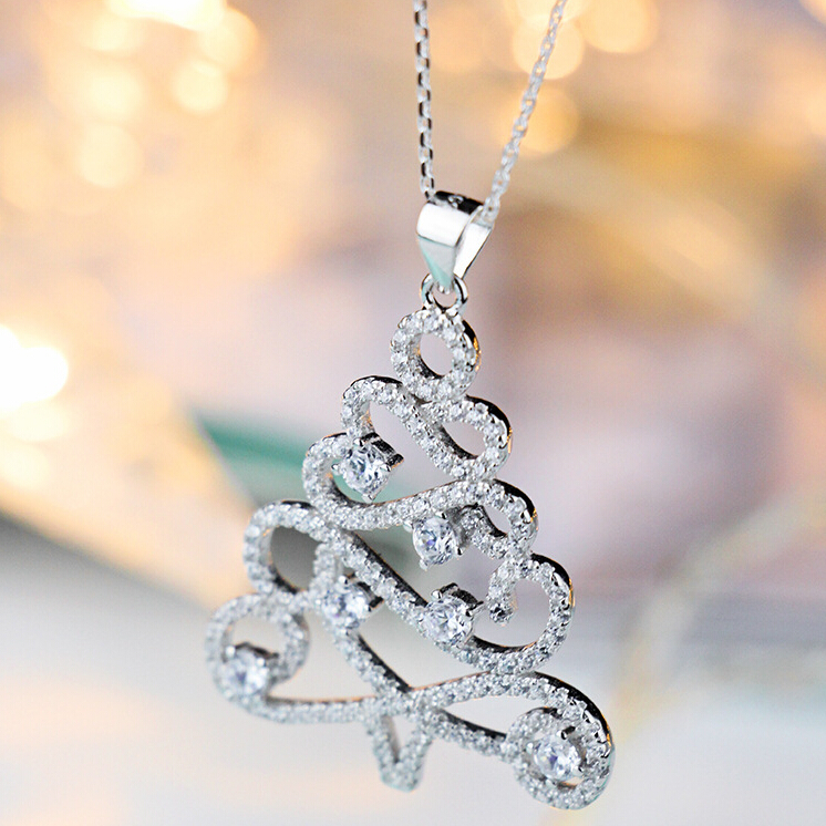 Christmas tree 925 sterling silver necklaces pendants for Sterling silver christmas jewelry
