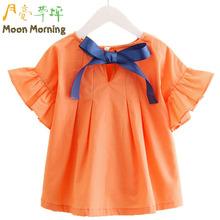Buy Moon Morning Kids Shirts 2T~10T Bow Short Flare Sleeve Orange Summer Lovely Children Blouse Regular O-neck Collar Frill Garment for $14.77 in AliExpress store