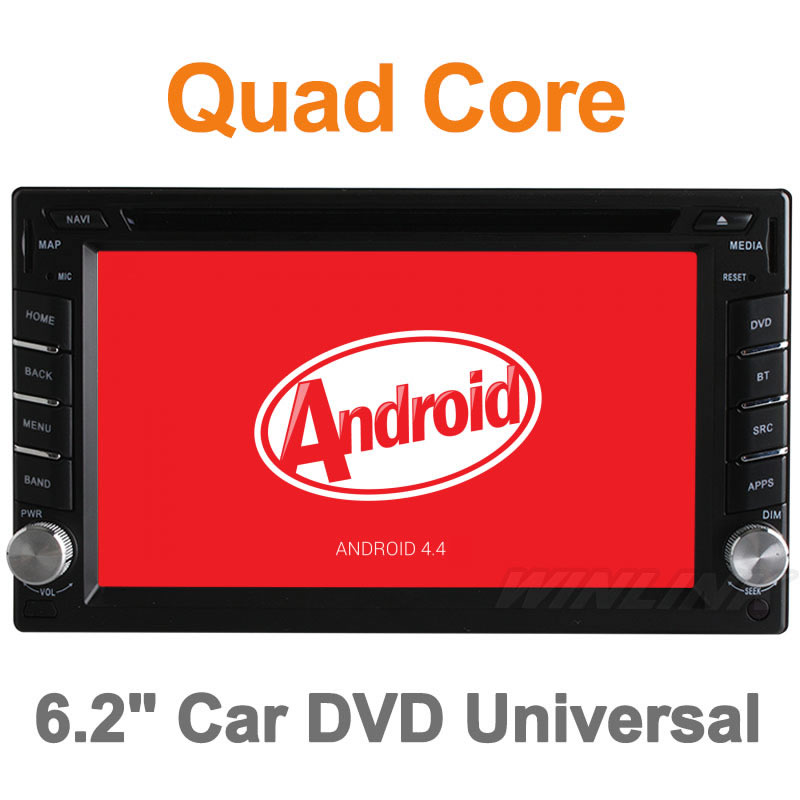 2015 Quad Core Pure Android 4.4 DVD Car Universal Two 2 Din Car DVD Player with GPS Navigation Radio Car Video Player Stereo(China (Mainland))