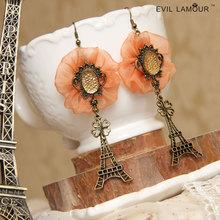 Princess sweet  Lolita jewelry Four leaf clover yarn flower lace earing The Eiffel Tower earrings long drop earring prom jewelry(China (Mainland))