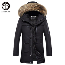 2016 Luxury Brand men goose down jacket coat fur hood thickening Coats Army Green Military Russian casual wellensteyn winter hat(China (Mainland))