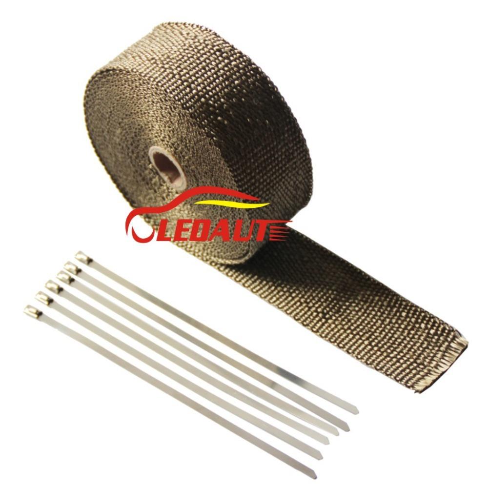 "Ledaut 2"" x 33' Exhaust Heat Shields Titanium Exhaust wrap with 8"" Stainless Steel Locking Ties(China (Mainland))"