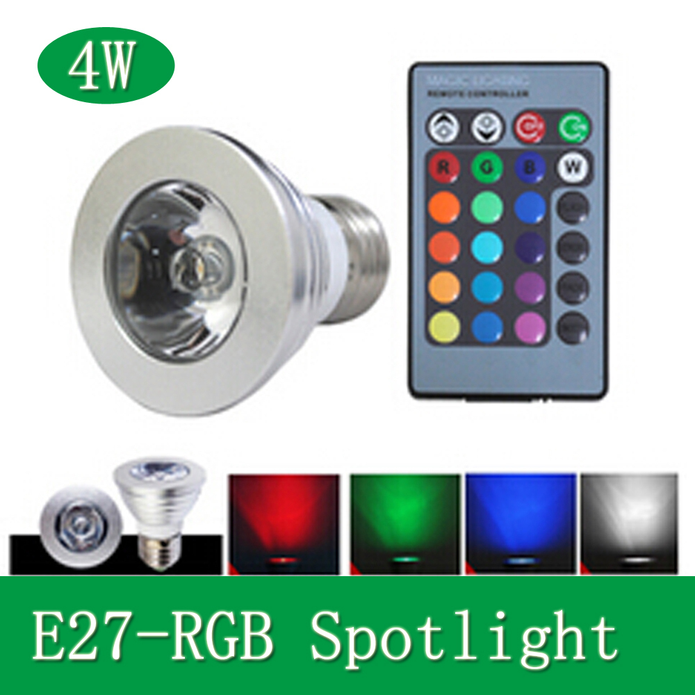 85-265V E27 4W Magic RGB 16 Color Change LED Bulb Stage Light Lamp Spotlight+IR Remote Control for Holiday Christmas Decoration(China (Mainland))