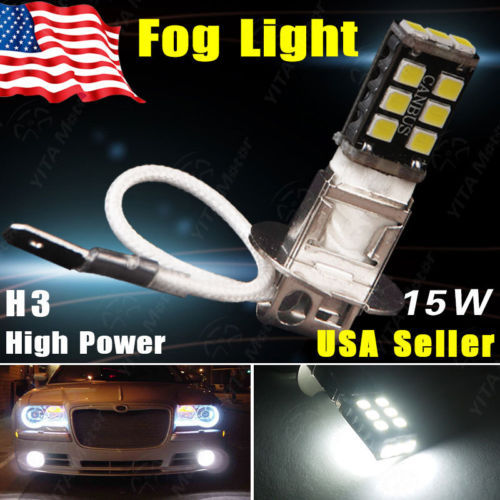 Free Shipping led car H3 15W High Power Xenon White LED Bulb Car Fog Driving DRL Signal Daytime Light External Car Light Source(China (Mainland))