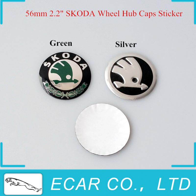 "20Pcs/lot 56mm 2.2"" SKODA Wheel Hub Caps Sticker Skoda Wheel Center Caps Sticker For Skoda Octavia Fabia Superb Rapid Yeti(China (Mainland))"