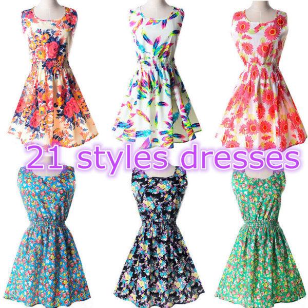 Hot Casual Tropical Dress Vestidos 21 Styles Chiffon Elastic Waist Sleeveless Bohemian Beach Summer Dresses de Festa - Cool Fashion Women Store store