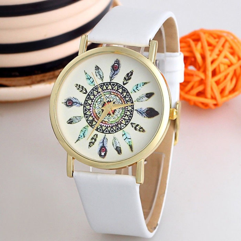 New brand 2015 Mens Vintage Quartz Wrist Watches for men Leather feather watch White