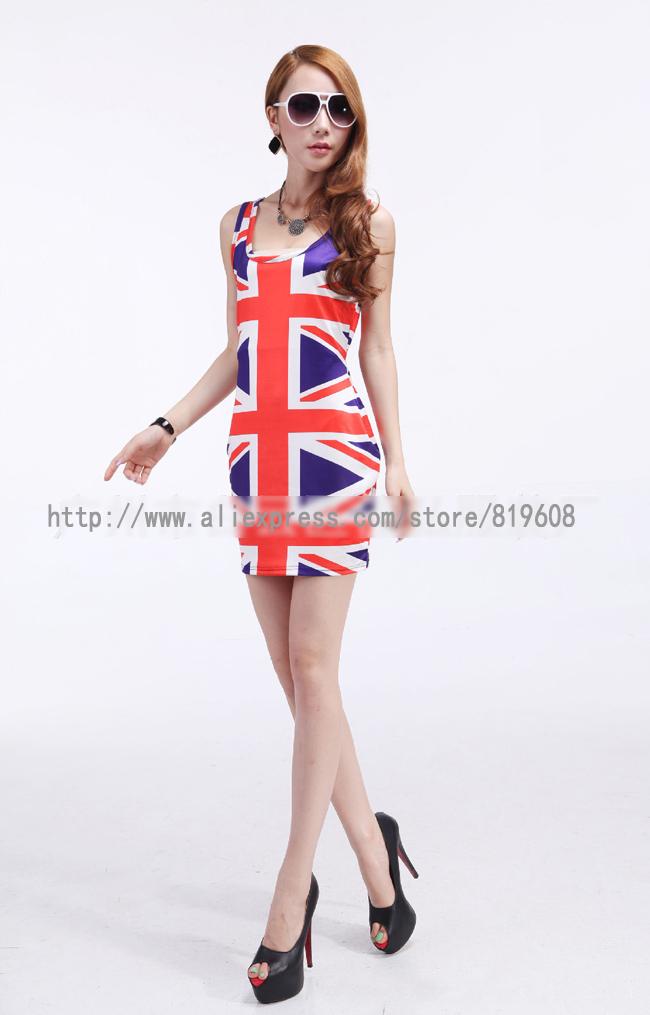 hot sale National flag Printing pattern dress chiffon adventure time roupas femininas beautiful Spring dress(China (Mainland))
