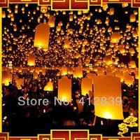 Free Shipping 30pcs/lot Pure White Chinese Wishing Lantern Kongming Lantern UFO Sky Wishing Lantern