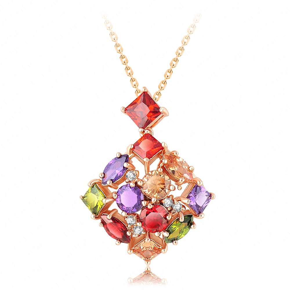 New Arrival Elegant Pendant Neclace Real 18K Gold Plated Multicolor Zircons Necklace Gift For Women NL0065-C(China (Mainland))
