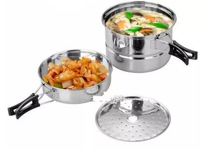 2-3 people A31 Hot Sale 8pcs/set Stainless steel Outdoor Camping Hiking Cookware Backpacking Cooking Picnic Bowl Pot Pan Set(China (Mainland))