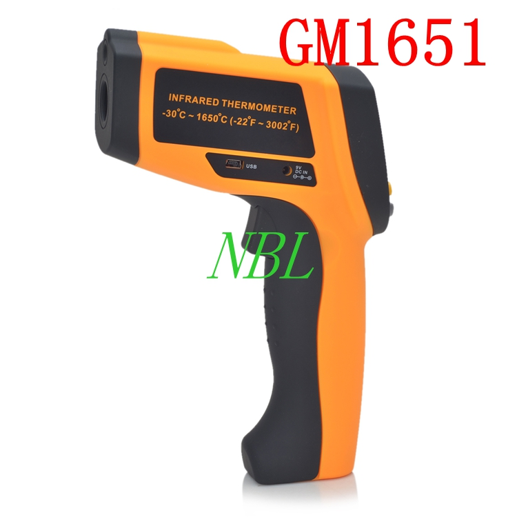 50:1 GM1651 LCD Infrared Thermometer Non-Contact Digital Laser Temperature Meter Gun Tester Range -30~1650 Degree(China (Mainland))