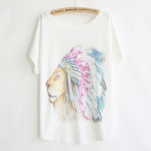 New 2016 Summer Style Women Cartoon Lion Batwing Short Sleeve T Shirt Tops Female Loose Casual T-shirts Women Tees Clothes