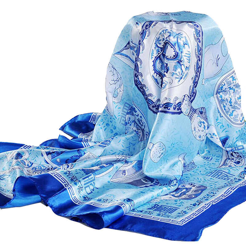 LING/Hot Sale Polyester scarf women,Blue,ArmyGreen,Yellow,Red,New Arrival Satin Square Silk Scarf Printed For Ladies#FJ0015(China (Mainland))