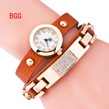 New Arrival Multilayer Leather Strap Quartz watch Women Rhinestone Watches With Gold Plated H Casual Wristwatch Retro Punk Style