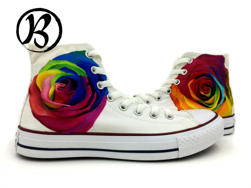High Top Canvas Shoes Colorfull Roses Painted Shoes Girls Boys Mens Womens Birthday Gifts Hand Painted Art<br><br>Aliexpress