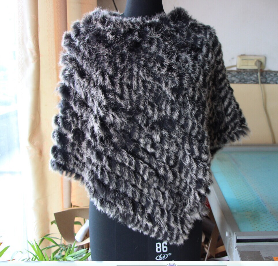 Autumn Winter Ladies' Genuine Real Knitted Rabbit Fur Shawls Women Pashmina Poncho Female Party Pullover - Zhejiang Eastern CO.LTD store