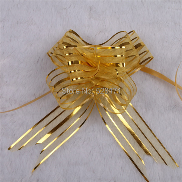 Free Shipping Sales Promotion 30pcs lot 3cm x 50cm Gold Organza Butterfly Pull Bow Wedding Christmas