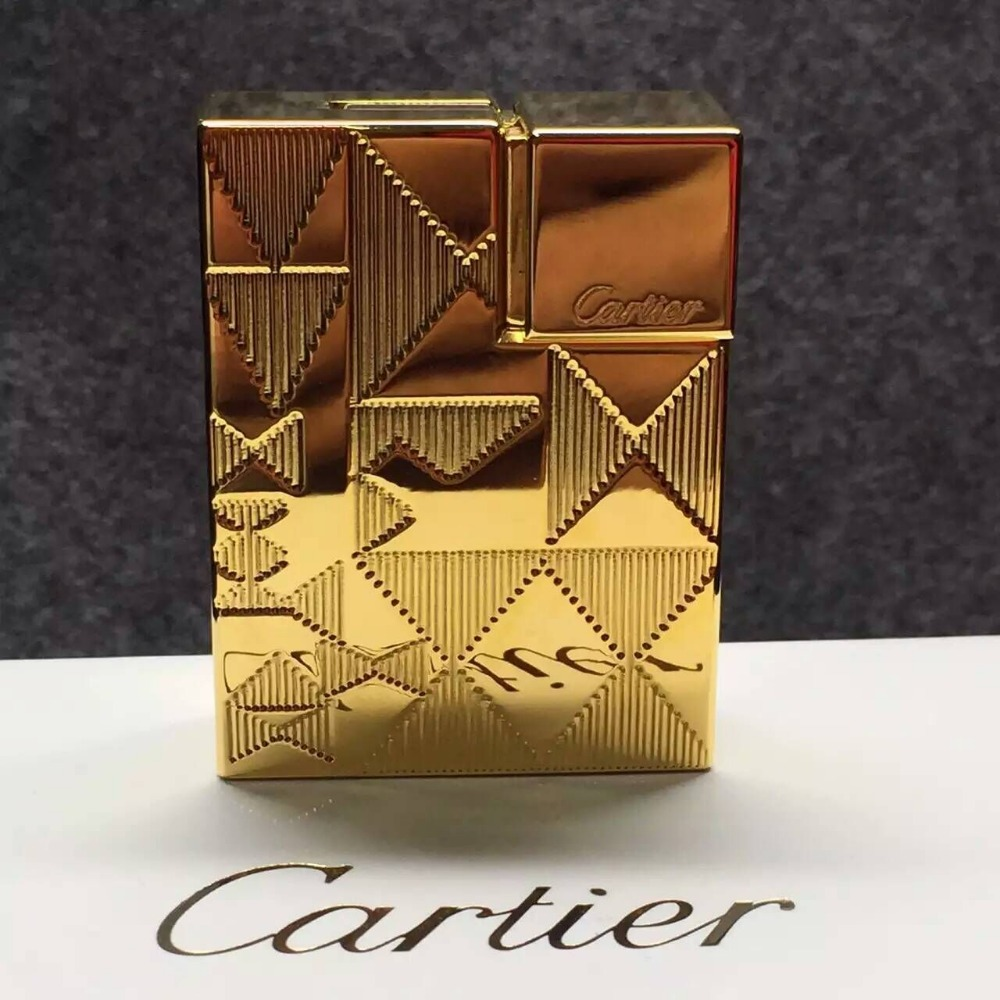 wholesale cart brand lighter high quality carving gold silver Copper square logo with box Genuine packaging(China (Mainland))
