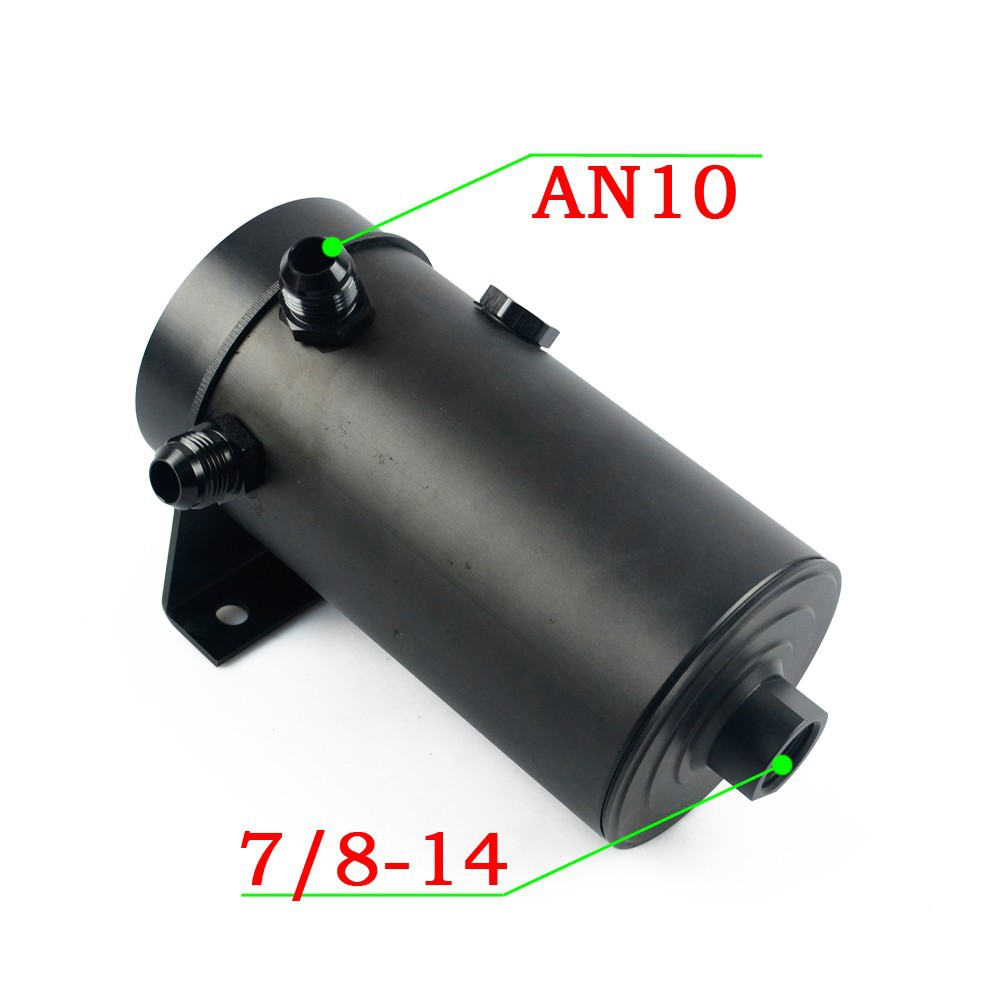 VR RACING-UNIVERSAL ALUMINIUM ANODIZE BLACK OIL TANK WITH -08 AN PORT -10 AN FLARE AND 7/8-14 FUEL TANK HIGH QUALITY VR-SLYT01