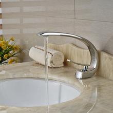 Chrome singola maniglia forma curva rubinetto del bacino deck mount bagno in ottone vessel sink mixer rubinetti(China (Mainland))