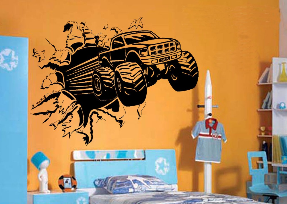 Blasting Monster Truck BEDROOM CREATIVE WALL MURAL ART STICKER TRANSFER VINYL CUT DECAL STENCIL HOME DECOR(China (Mainland))