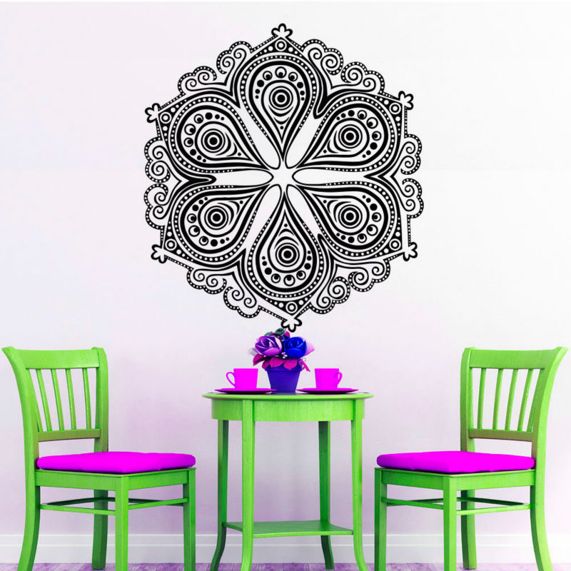 2016 Unique Mandala Pattern Wall Sticker Indian Home Decor Vinyl Art Murals Wall Decals Hollow Out