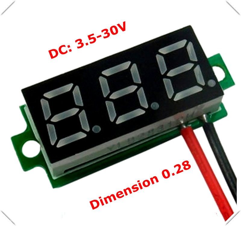"""New 0.28"""" Mini Digital Voltmeter dc 3.50-30V 2 wires Vehicles Motor Voltage Panel Meter led Display Color:Red [ 10 pieces / lot](China (Mainland))"""