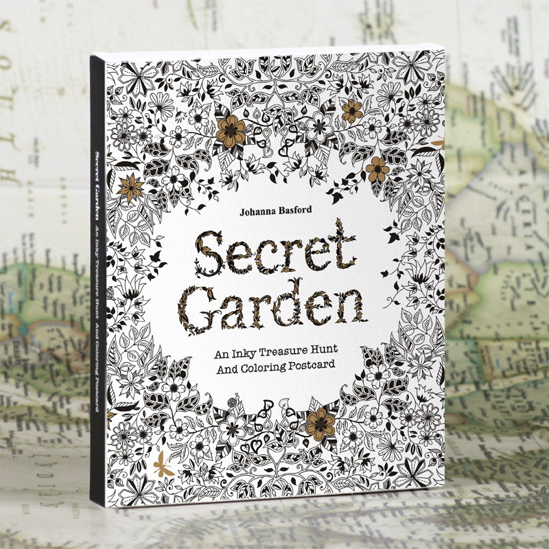English Edition Secret Garden 30 Sheets Coloring Card Tintage Postcards DIY Painting Drawing Book Colouring Books(China (Mainland))