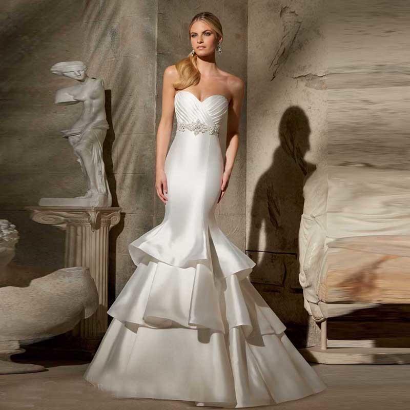 Popular plain simple wedding dresses buy cheap plain for Satin trumpet wedding dresses