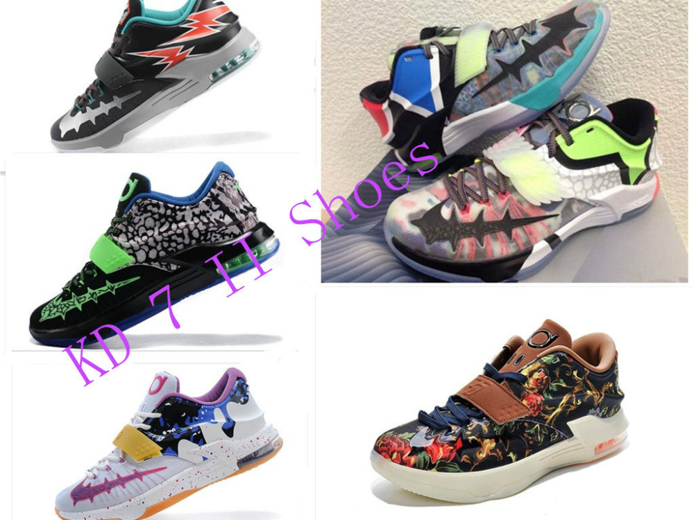 Free shipping 2015 New Arrival KD 7 II What Basketball Sport shoes For Men cheap fashion kevins durants athletic 6 shoes SZ:7-12(China (Mainland))