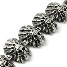 Mens Boys 316L Stainless Steel Cool Punk Gothic Indians Skull Link Cool Bracelet Cool Gift
