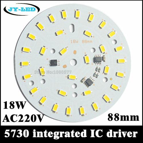 10pcs 220v 18W 5730 smd led light pcb integrated ic driver, 88mm aluminum blub plate for LED bulbs lighting(China (Mainland))