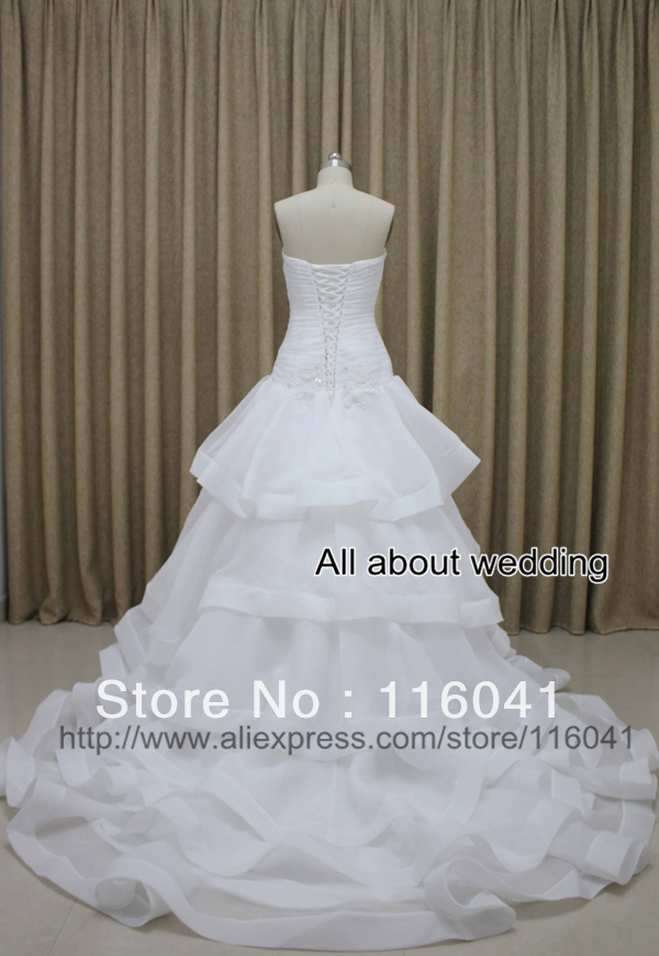 Factory Real Picture Strapless Organza Tiered Popular New Design Ball Gown Bridal Wedding Dresses(China (Mainland))
