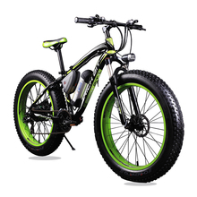 New 36V 350 Watt Lithium Battery Electric Snow Bike Mountain Bike SHIMAN0 24 Speed Electric Bicycle Black and Green Road Cycling(China (Mainland))