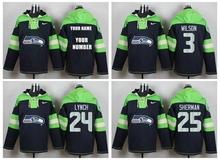 Men Seattle Seahawks,Marshawn Lynch,Richard Sherman,Russell Wilsons,Earl FAN custom Sweater hoodies Hoody Sweatershirt Pullove(China (Mainland))