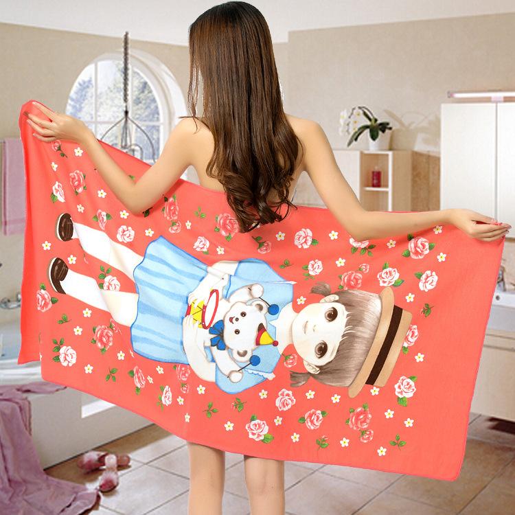 Promotional cartoon girl High Quality beach towel wholesale microfiber printing bath towel super soft quick dry beach towel(China (Mainland))
