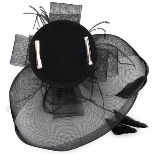 Скидки на TFGS 10 x (Черное Перо Veil Зажим Для Волос Top Hat Партии Cosplay Горячая