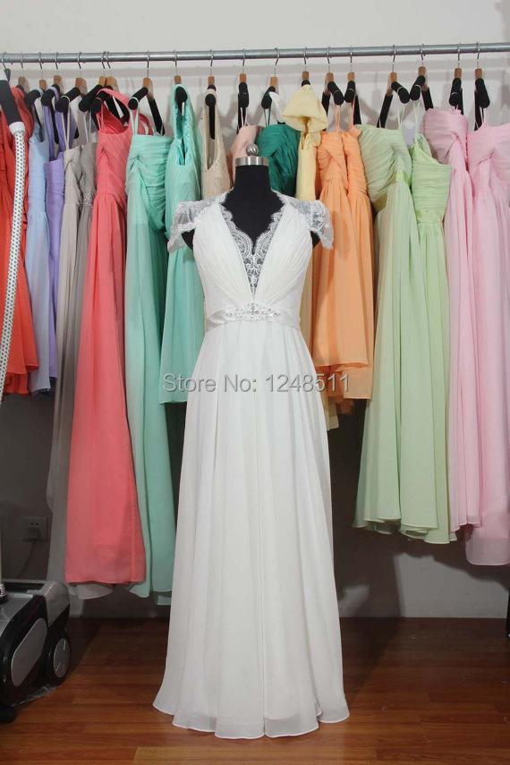 2014 long simple white a line cap sleeve empire waist for Empire waist beach wedding dress