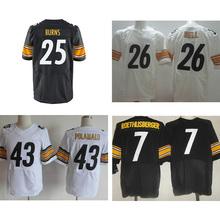 Men's #25 Artie Burns #43 Troy Polamalu #7 Ben Roethlisberger #26 wholesale White Black Elite 100% Stitched Logos Free Shipping(China (Mainland))