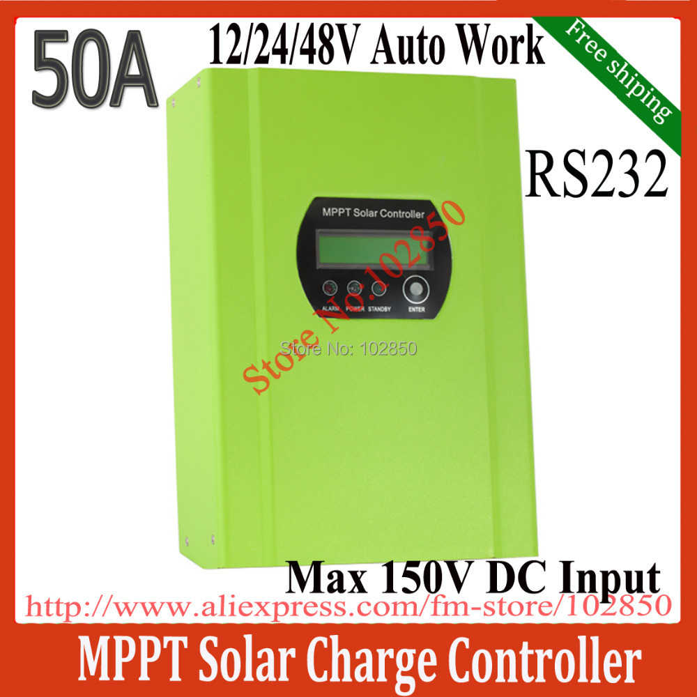 50A MPPT Solar Controller Regulator,12/24/48V Auto solar panel battery regulator,Max Solar input 150V,RS232 blue&green(China (Mainland))
