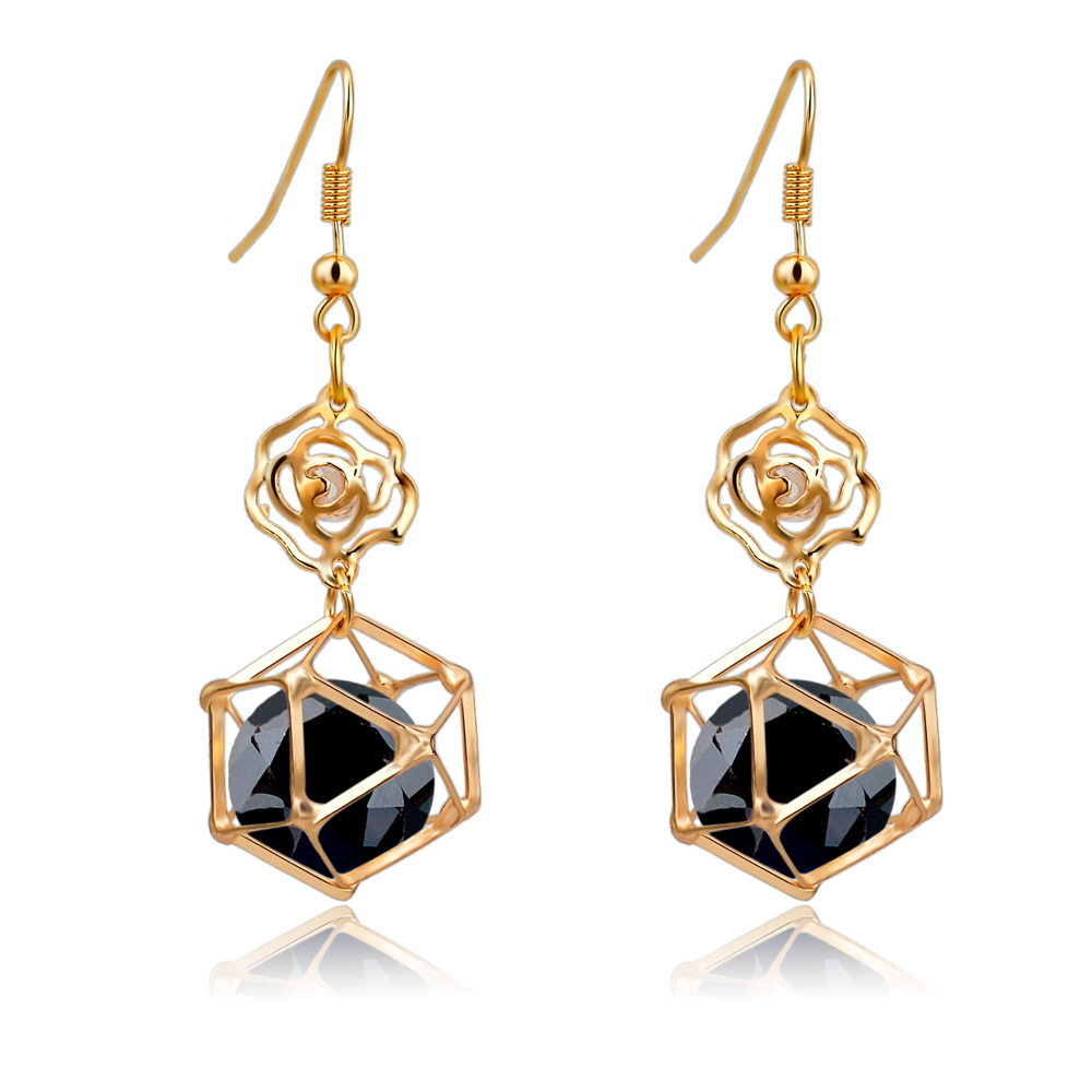 long gold earrings with stones for women classic black crystal earrings fashion jewelry 2016. Black Bedroom Furniture Sets. Home Design Ideas