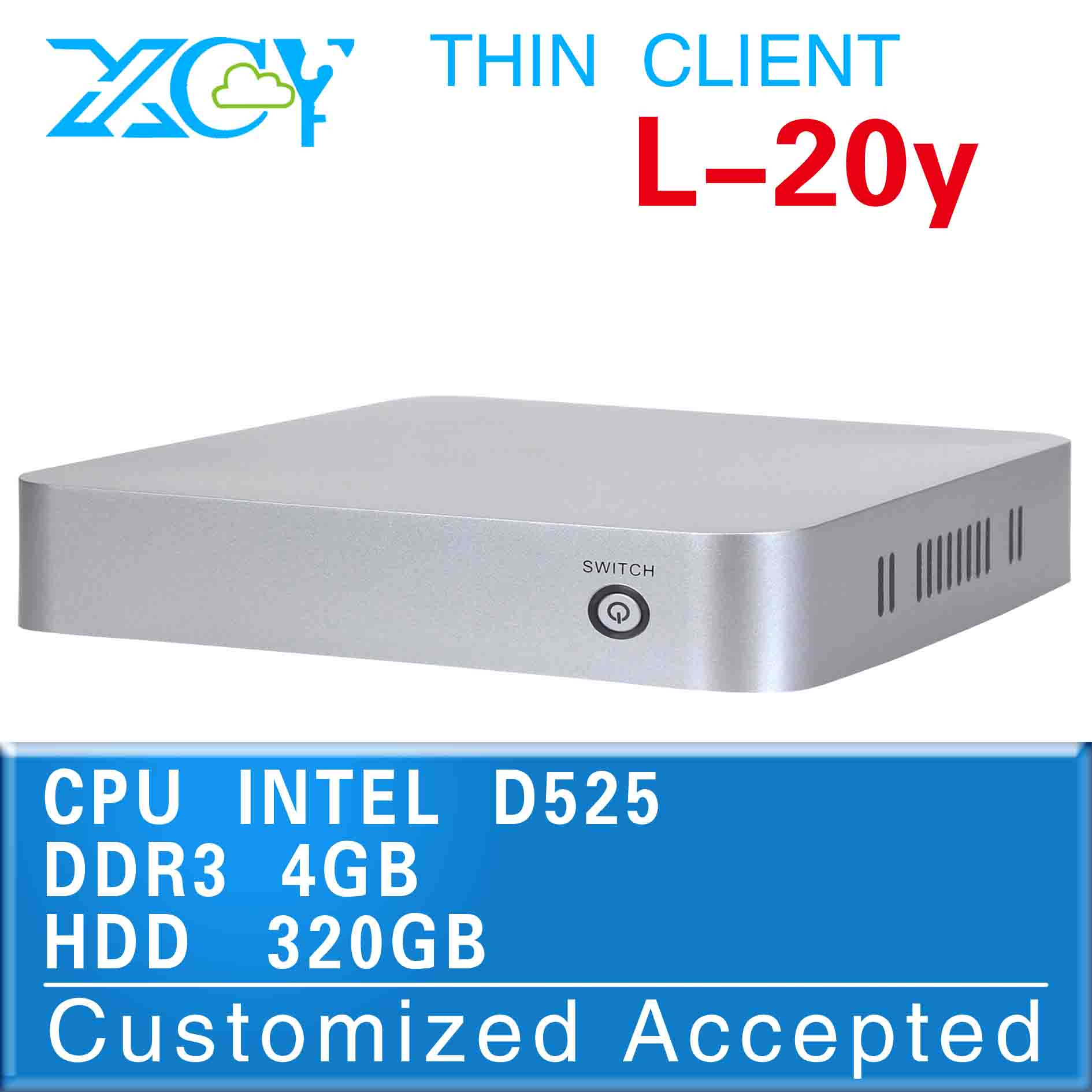 windows mini pc vga mini pc one pc multi users L-20Y D525 4G RAM 320G HDD support Home Premium and embedded cheapest(China (Mainland))
