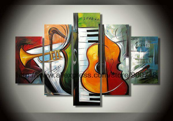 Five Abstract Combination Of Painting High Quality Musical Instruments Paintings On Canvas Abstract Wall Art Sets Large Canv(China (Mainland))