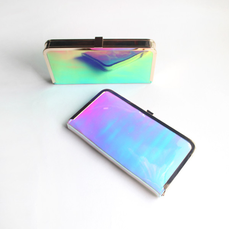 1p Personality Pondering Funny Candy Transparent Evening Clutch Bag Gradient Rainbow Simple Causal Street Bag/Passport/Card Bag<br><br>Aliexpress