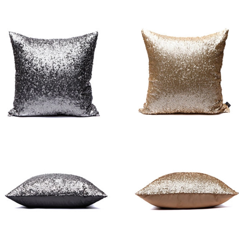Silver Decorative Bed Pillows : ZT1057 Morden Gold Silver Sequin Shining Bling Color Decorative Sofa Throw Pillow Cases Cushion ...