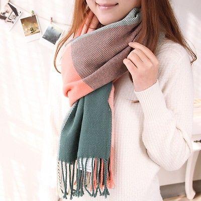 New Hot Fashion Pashmina Wool Long Plaid Soft Scarf Shawl Wrap Autumn Winter #pinkGreen(China (Mainland))